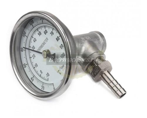 Комплект: термометр биметаллический нержавеющий с тройником и штуцером