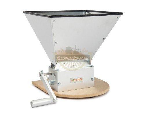 Трёхвальцовая мельница/дробилка для солода Hoppy Brew с бункером и подставкой (нерж.сталь)