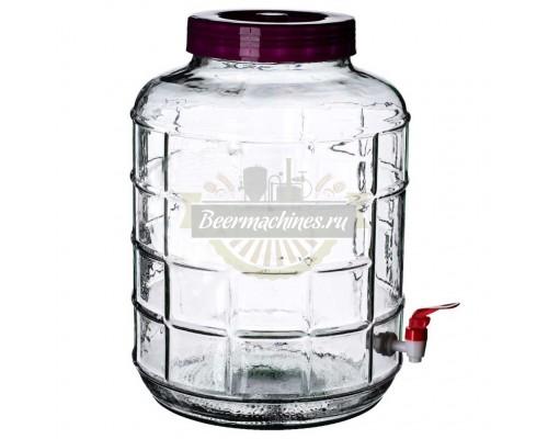 Банка стеклянная с гидрозатвором и краном, 18 л